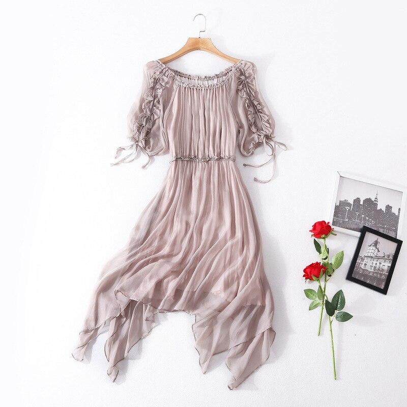 Soie coton solide lanterne manches taille élastique lâche plage longue robe 2018 nouvelle haute qualité office lady femmes robe d'été