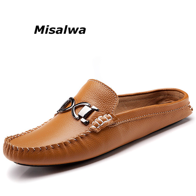 Misalwa 2018 New Summer Genuine Leather Men Shoes Luxury Brand Casual Loafers Shoes Moccasins Slip On Half Slippers Freeshipping black real leather 2017 mules summer brown european loafers men genuine shoes moccasins half male casual slip ons hot sale page 8