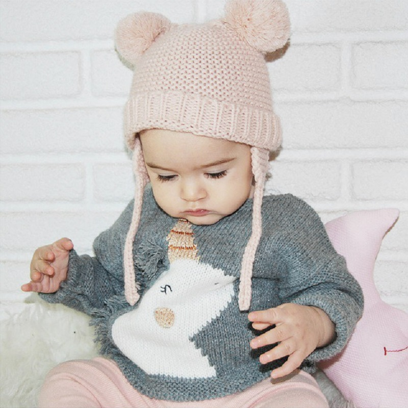 Baby Girl Sweater Casual Knitted Toddler Tops Wool Jumpers Pullover New Fashion Printing Unicorn boys Sweater Kids Clothes