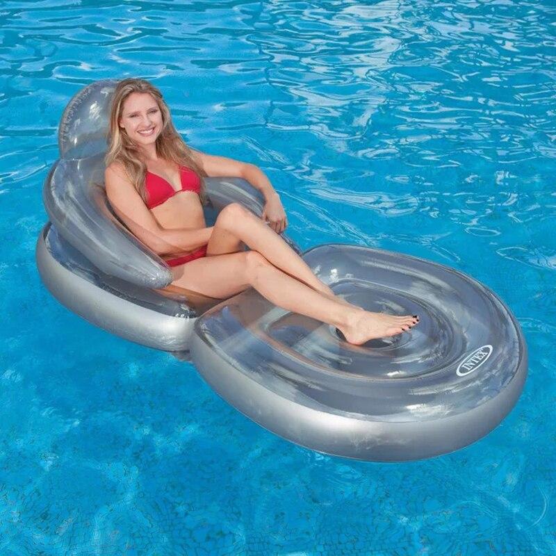 Piscine gonflable bateau flottant adulte de natation ligne flottante repos estival d'eau jouets et pompes à eau