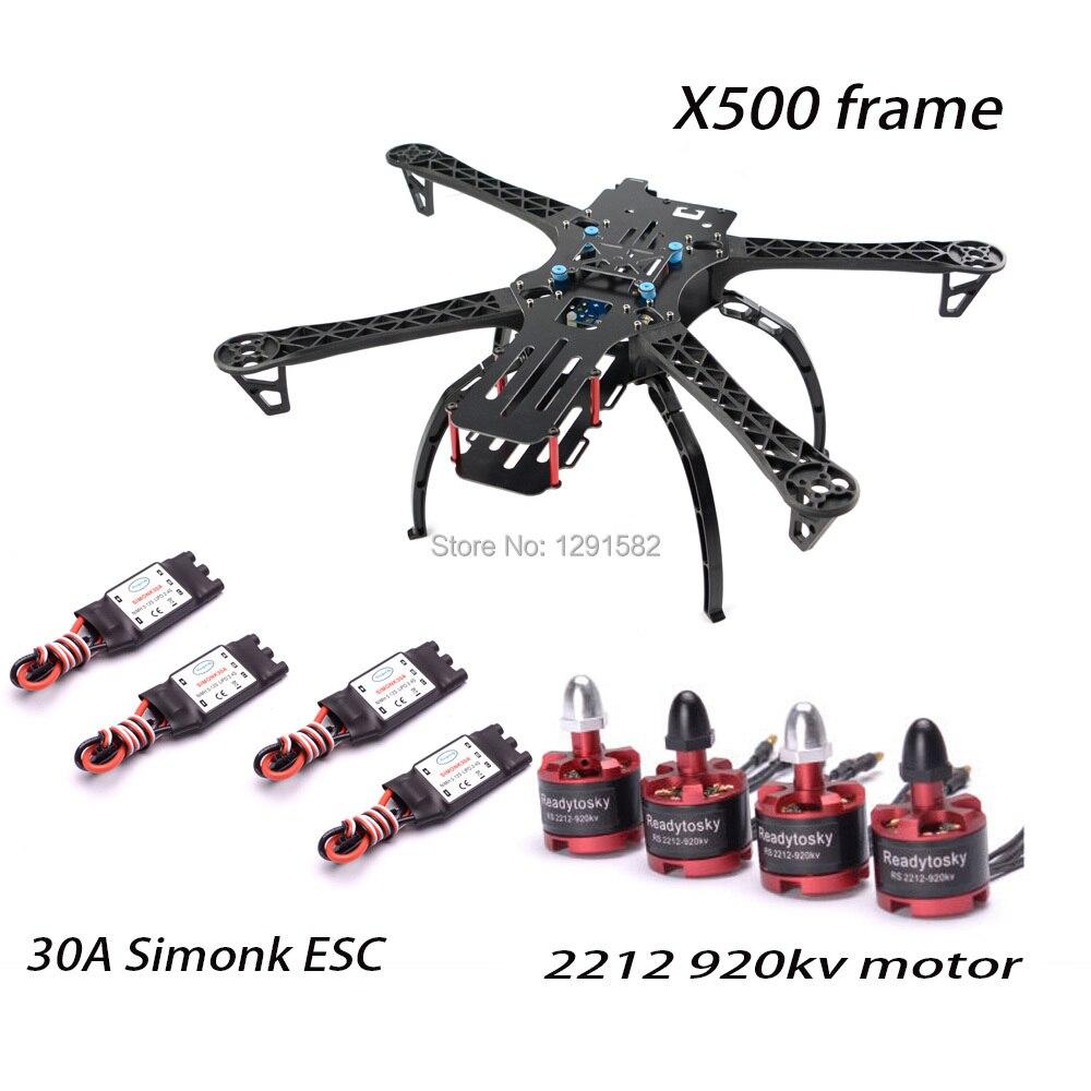 Kit cadre quadrirotor X500/S500 500mm avec train d'atterrissage + moteur 30A simoine ESC + 2212 920KV pour Drone de course FPV-in Pièces et accessoires from Jeux et loisirs    1