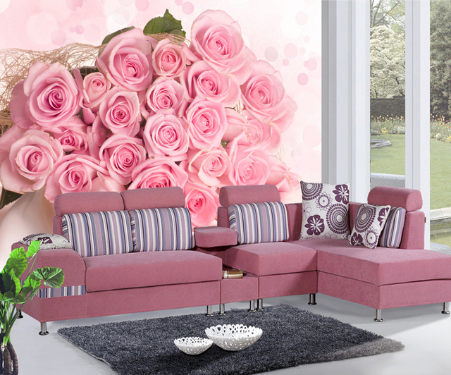 new can customized big art wall pink rose 3d wallpaper room large murals wall paper sofa tv. Black Bedroom Furniture Sets. Home Design Ideas