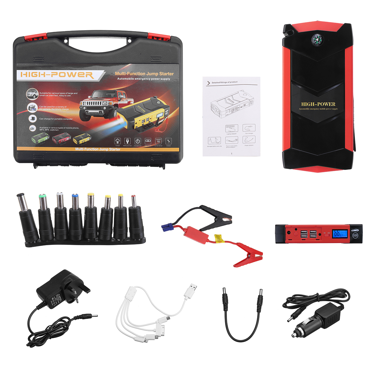 12V 82800mAh Car Jump Starter Booster Power Bank 4USB Car Battery Charger Starting Tool Kit For Car Starting Device car jump starter emergency 69800mah 12v starting device 4usb sos light mobile power bank car charger for car battery booster led