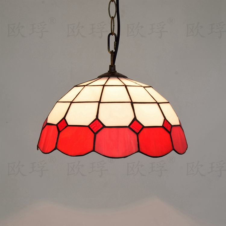 European Mediterranean style Creative Tiffany color glass restaurant lighting E27 110-240V Chain  pendant lamps Festive red 12 inch simple european style modern restaurant droplight tiffany glass lighting mahjong table mediterranean balcony lamp