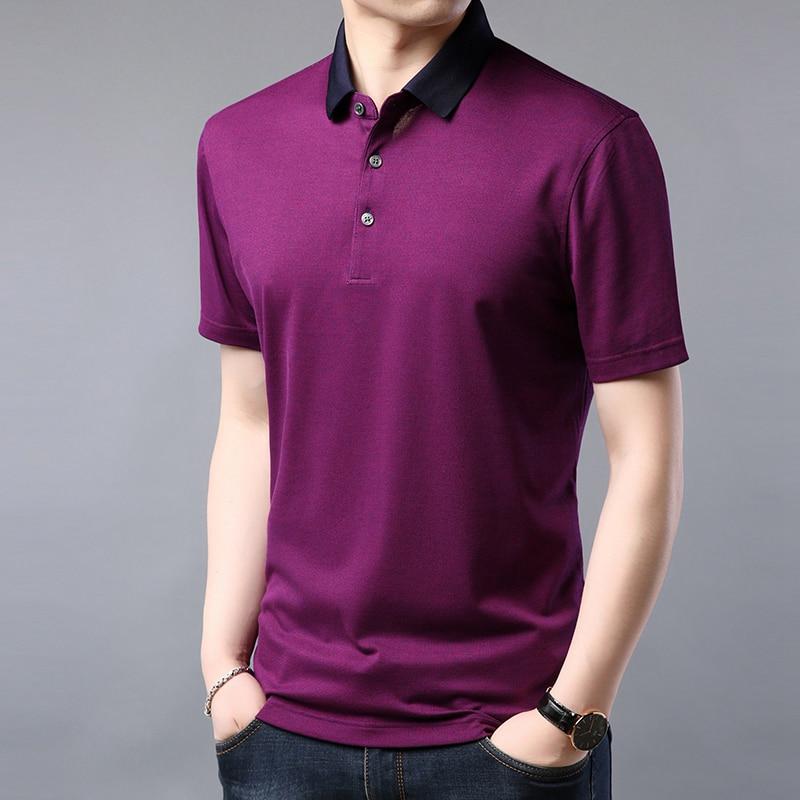 2019 été nouveau hommes polo marques décontracté tricoté designer hommes polo chemise de haute qualité en soie polo plaine hommes M-3XL