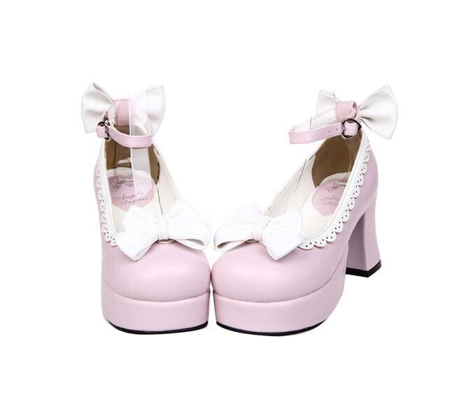 Chaussures Dentelle Femme Haute Noir 33 Princesse Empreinte Robe rouge Arcs Lolita Femmes 47 Cosplay rose Talons Fille blanc Mince Angélique Mori Pompes Lady HqYx8Zx5w
