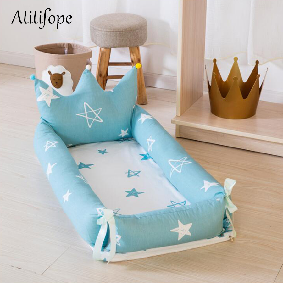 Newborn Baby Cotton Foldable Bed Removable Crib Portable An Crown Bionic Bed Folding Removable Washing
