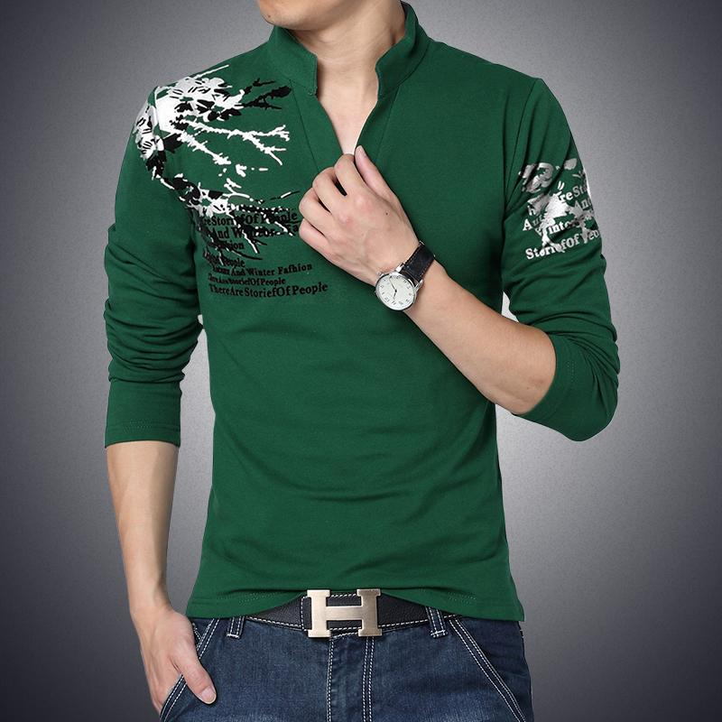 bd8152b5030 2016 New Fashion Brand Trend Print Slim Fit Long Sleeve T Shirt Men Tee V  Neck Casual Men Cotton T Shirts Plus Size M 5XL-in T-Shirts from Men s  Clothing ...