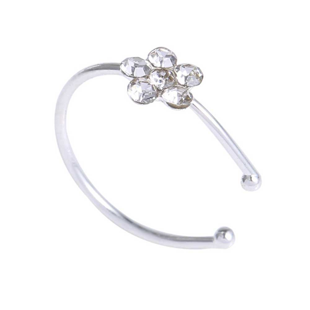 Nose Piercing Jewelry Plum Flower Rhinestone Nose Piercing Hoop Nose Ring Cartilage Tragus Stud Ring Body Piercing Jewelry