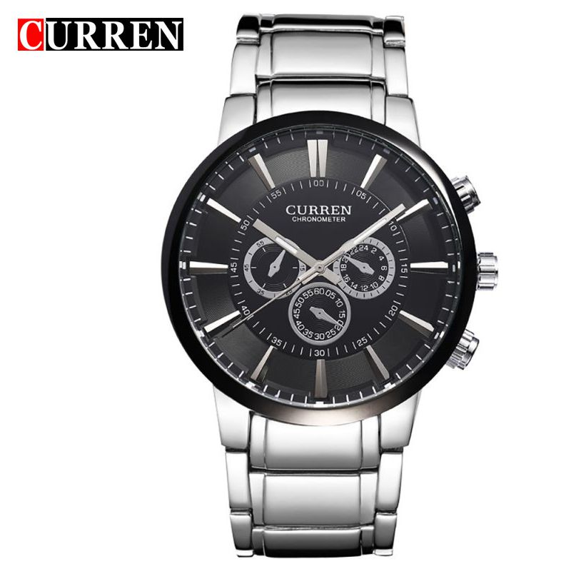 8001 Curren Big Dial Retro Design Business Male Clock Fashion Steel stainless Men Watch Quartz Wristwatch fashion casual luxury large dial mens wristwatch big dial military men sport quartz male watches business stainless steel watch