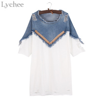 Lychee Harajuku Spring Summer Women Dress Hole Patchwork Casual Loose Three Quarter Sleeve Denim Dress