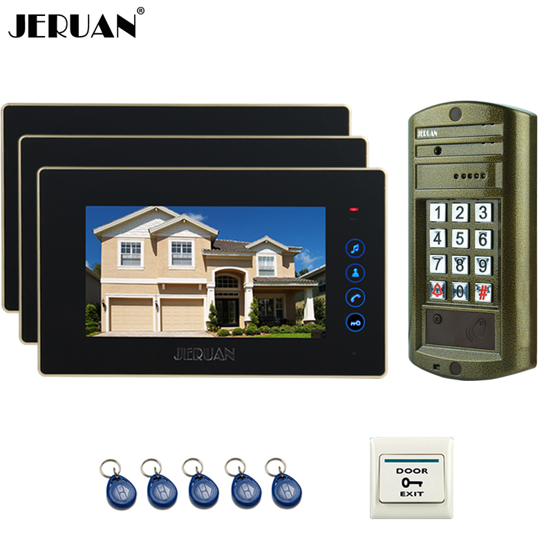 JERUAN NEW Metal Waterproof Access password HD Mini Camera +7 inch Color LCD Video Door Phone Speaker Intercom System kit 1V3 jeruan home 7 inch video door phone intercom system kit new metal waterproof access password keypad hd mini camera 2 monitor
