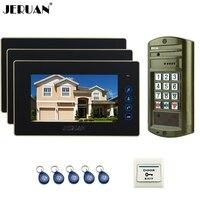 JERUAN NIEUWE Metalen Waterdichte Toegang wachtwoord HD Mini Camera + 7 inch Kleur LCD Video Deurtelefoon Speaker Intercom Systeem kit 1V3