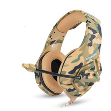 Camouflage Headphones Stereo Gaming Headset PS4 PC Xbox Controller Noise Cancelling Over Ear Mic LED Light Soft Memory  Laptop