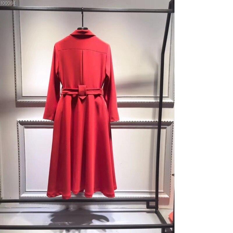 Col 2019 Haut Bikinis red Mode Nouveau Grade Coton Robe Femmes Femme Printemps Cranté Dame Black Double Chic De Jupettes Boutonnage cS8ASr