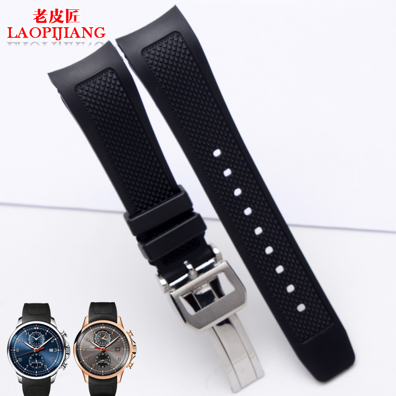 22mm Black Diver Silicone Rubber Watchbands Watch Bands Strap Deployment Clasp FOR iwc WATCH Buckle Relojes Hombre with logoTool