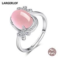 LARGERLOF Ring Silver 925 Women Rose Quartz Fine Jewelry Silver 925 Jewelry Silver Ring With Stone RG470004