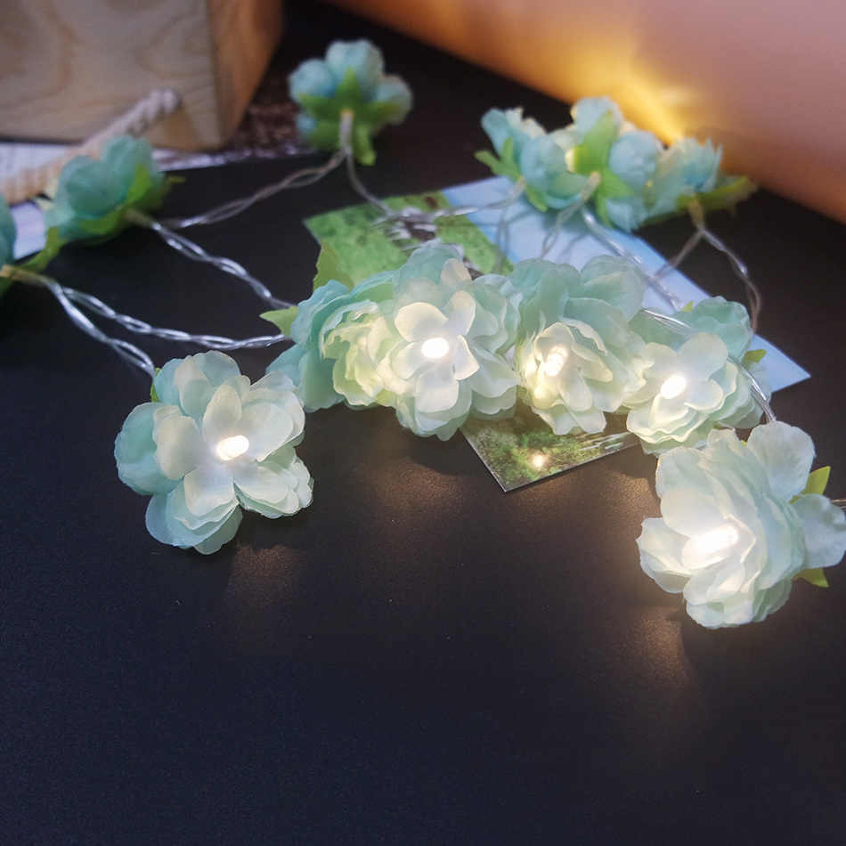 10 meter 80leds lovely green flower lighting String powered by AA Battery,Event Wedding/ Valentie's day floral light Decoration