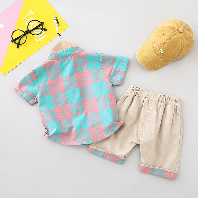 Boys Clothes Turn-down Collar Shirt Shorts Set for Baby Children Casual Sport Suit Plaid Top Cute Little Boys Summer Sets 2