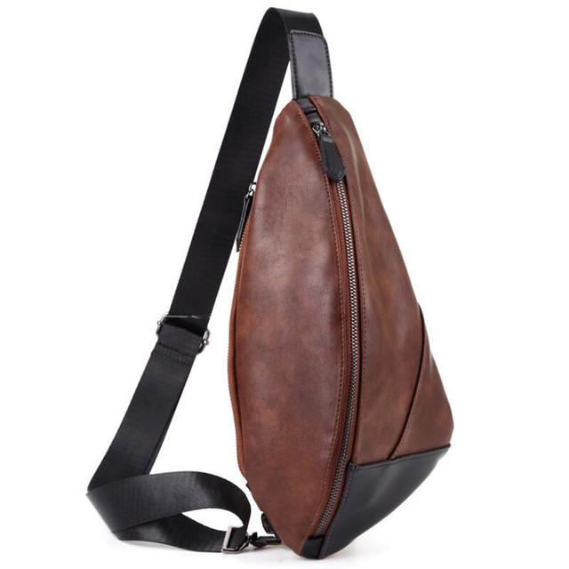 bde2edf418 Vintage Men Hobos Shaped Chest Bag PU Leather Fashion Sling Bag Multi  Functional Crossbody Travel Phone Black Shoulder Bags