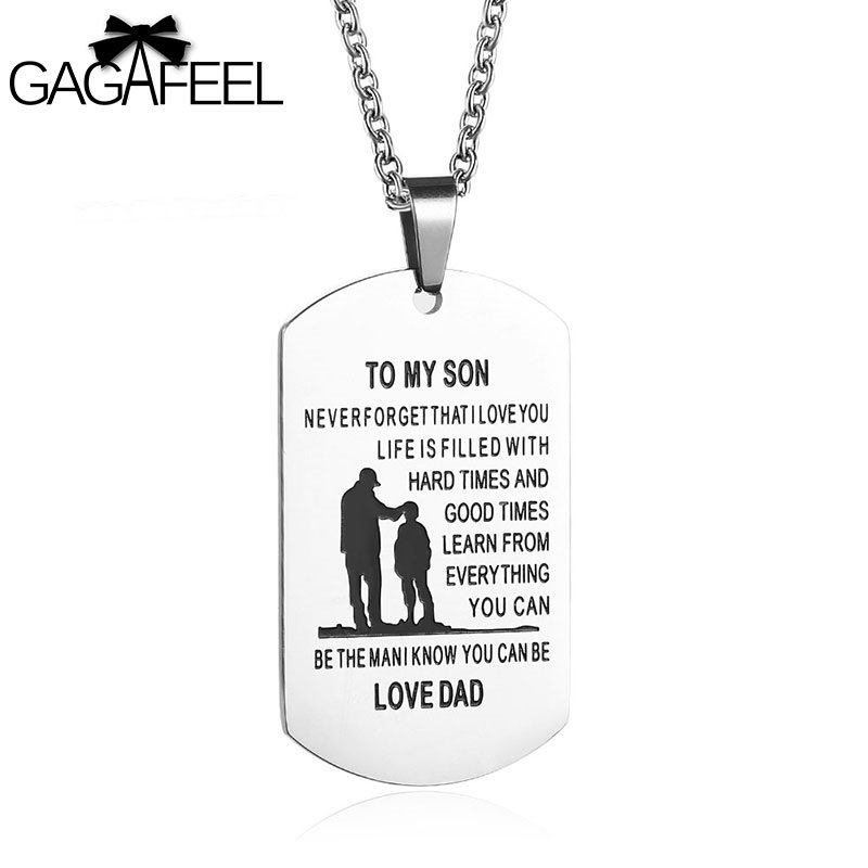 GAGAFFEL Dog Tags To My Son Necklace Love Dad Military