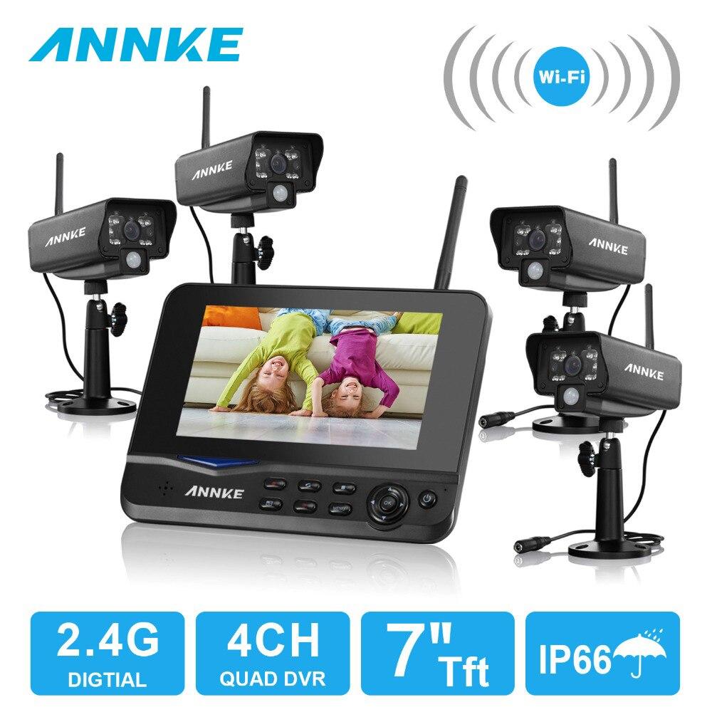 ANNKE 4CH 7 Inch TFT Digital 2.4G 4PCS Wireless WIFI IP Cameras Video Baby Monitors DVR Security System Surveillance Kits цена 2017