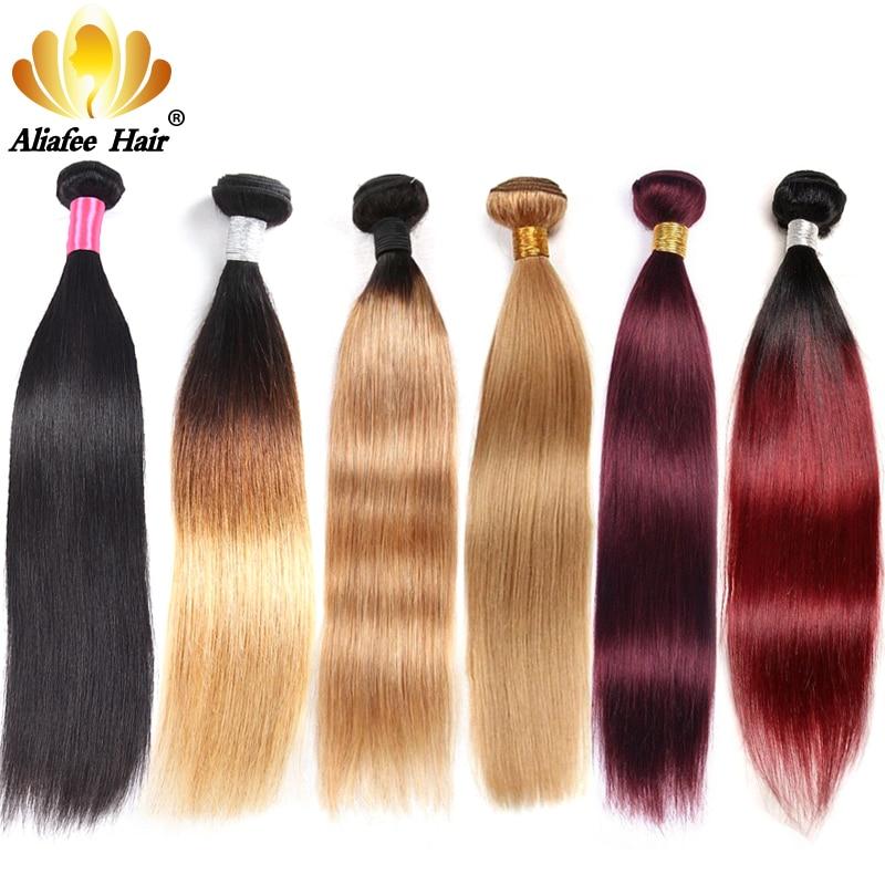 Aliafee brasileiro cabelo reto tecer pacotes ombre/natural feixes de cabelo humano #1b/#2/#4/#99/#27 remy 3/4 peças extensão do cabelo