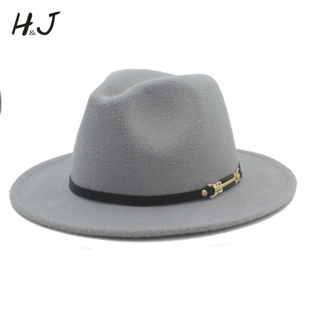 69832c1723b Wool Women Men Fedora Hat For Gentleman Elegant Lady Winter Autumn Floppy  Cloche Wide Brim Jazz Church Godfather Sombrero Caps