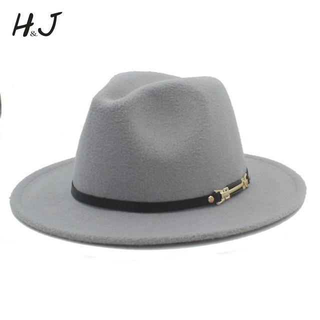 Wool Women Men Fedora Hat For Gentleman Elegant Lady Winter Autumn Floppy  Cloche Wide Brim Jazz Church Godfather Sombrero Caps 3c17be746d5
