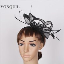Ladies Feather Fascinators Sinamay Hats Vintage Women Hair Accessories with Headband for Wedding Party Races 21