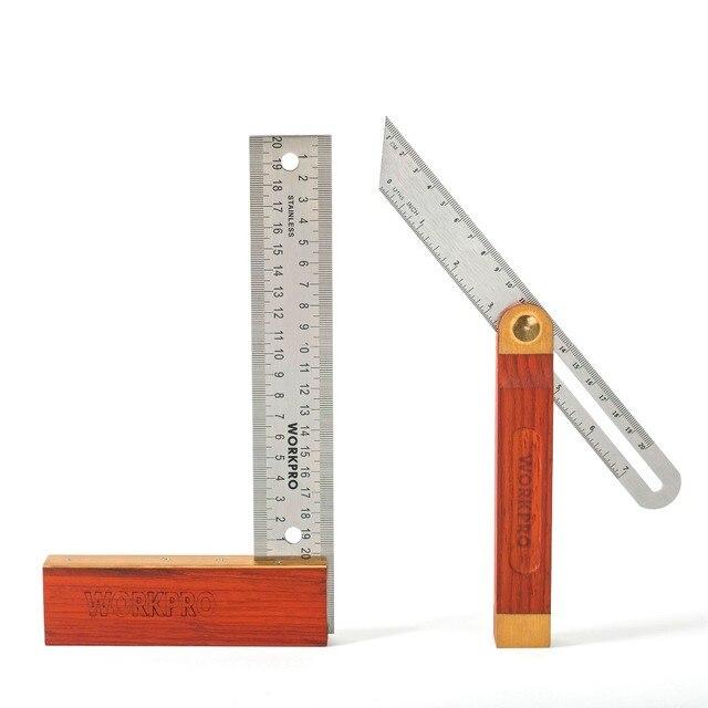 """2 ב 1 זווית WORKPRO שליטים מודד 8 """"Tri כיכר 9"""" T הזזה פוע עם ידית עץ ברמת כלי מדידה"""
