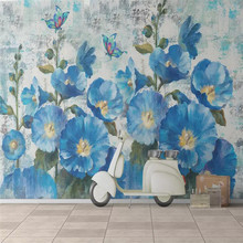 3D three-dimensional hand-painted blue background wall custom high-end mural factory wholesale wallpaper mural photo wall hand painted tropical rainforest plantain wall custom high end mural factory wholesale wallpaper mural photo wall