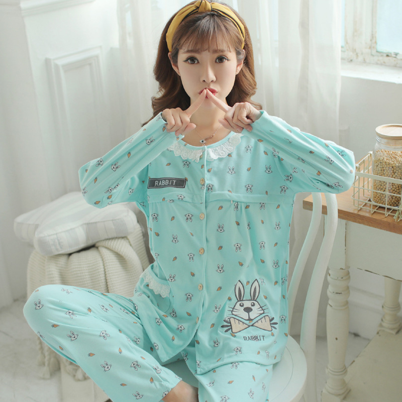 Maternity Sleep Clothing Mom Pajamas Long Sleeve Home Clothes For Women Pregnant Set Breastfeeding Pajamas Nursing Clothes