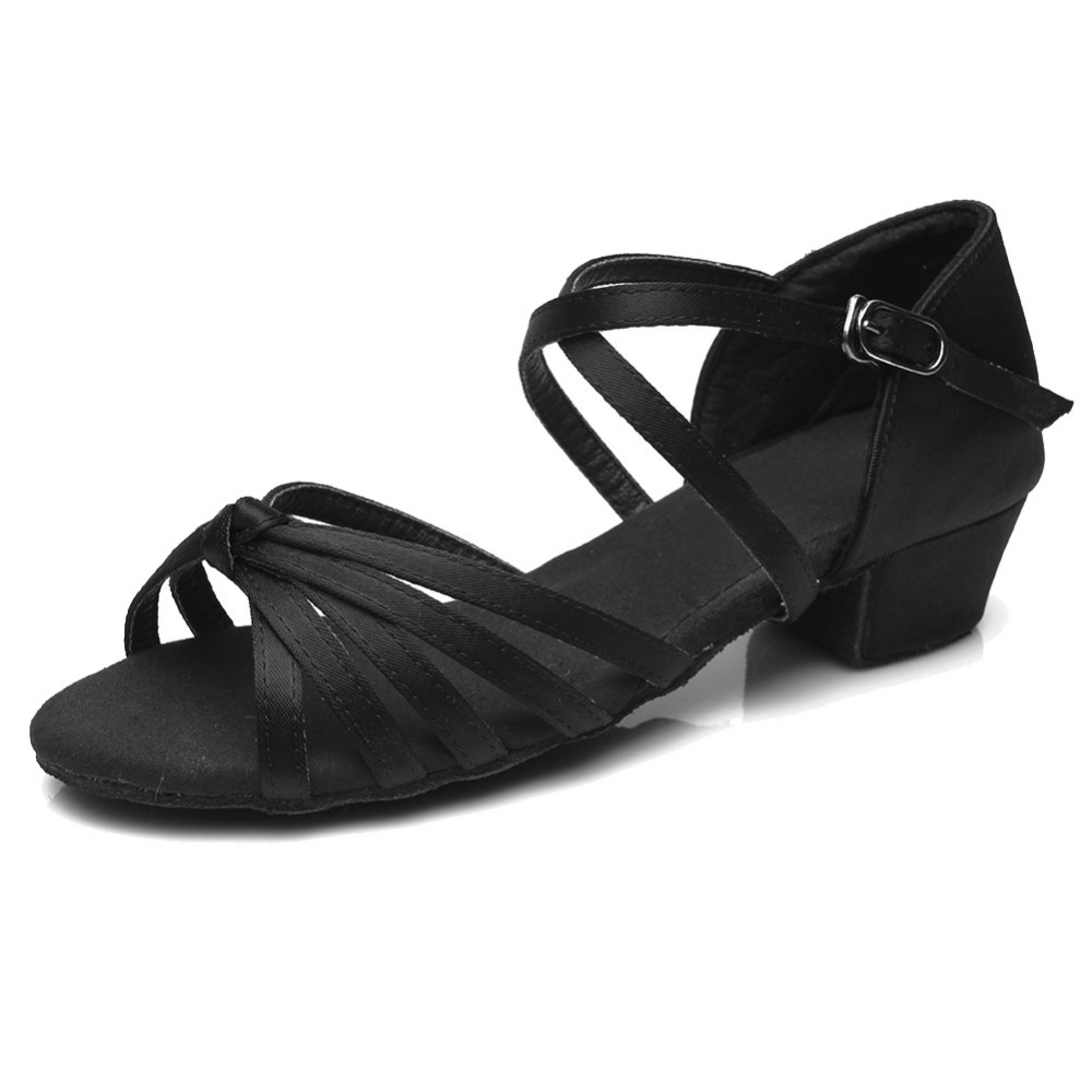 Ballroom Salsa tango latin dance shoes low heels dancing for kids - Kondisko - Foto 3