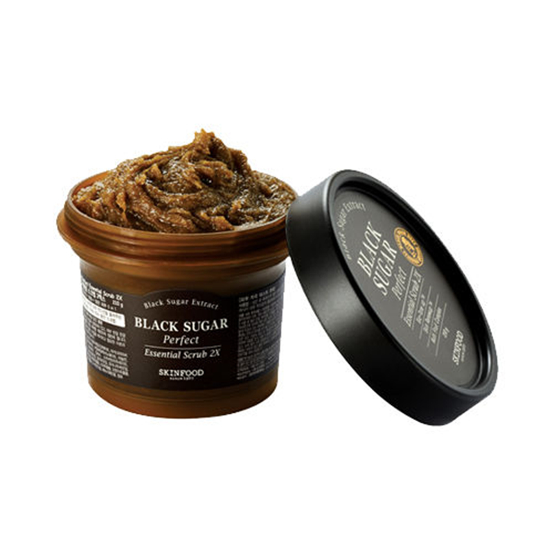SKINFOOD Black Sugar Perfect Essential Scrub 2X Face Care Exfoliate +Smooth Skin Revitalize+Mask+ Moisturize Deep Cleansing 210g маска skinfood black sugar honey mask 100 г
