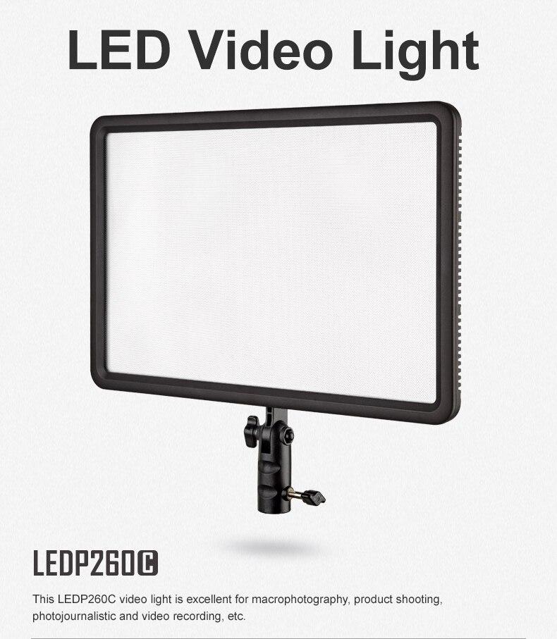 Godox LED P-260C LED panneau lumineux de lampe vidéo 3300 K ~ 5600 K pour caméra + adaptateur secteur