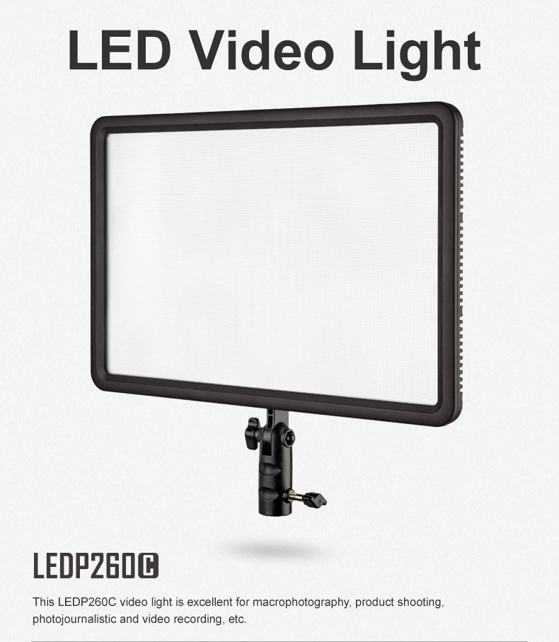 Godox LEDP-260C LED Video Lamp Light Panel 3300K~5600K for Camera + AC adapter