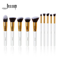 Professional 10pcs White Gold Foundation Blush Liquid Brush Kabuki Makeup Brushes Tools Set