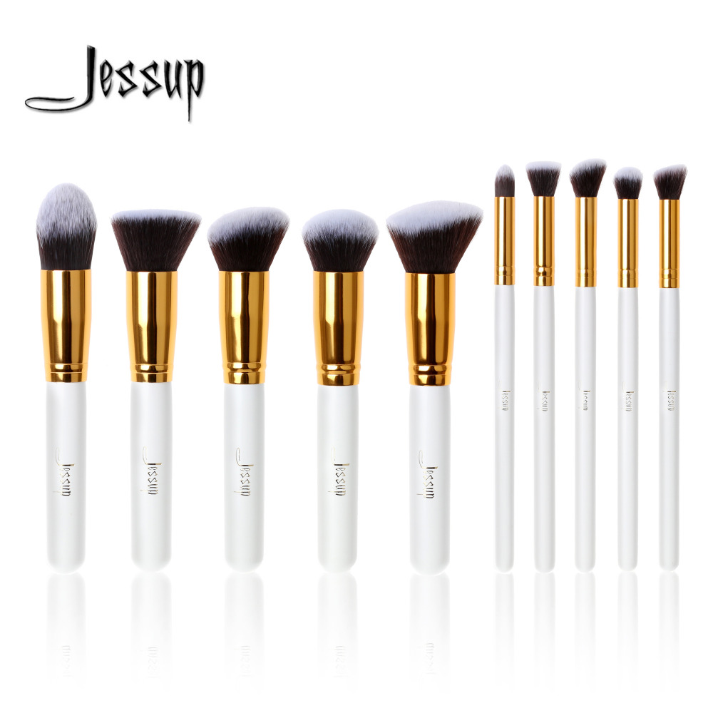Jessup Brush Professional 10pcs Kabuki White/Gold Makeup Brushes Set Beauty Foundation Cosmetics Make up tools Synthetic Hair jessup pearl white silver professional makeup brushes set make up brush tools kit foundation stippling natural synthetic hair