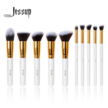 Professional 10pcs White/Gold Jessup Brand Makeup Brushes Set Beauty Foundation Kabuki Brush Cosmetics Make up Brushes tools kit