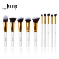 Professional 10pcs White Gold Foundation Blush Liquid Brush Kabuki Makeup Brushes Tools Set