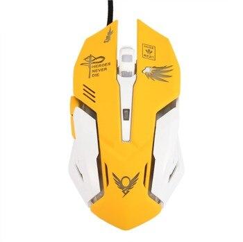Желтый цвет 6 кнопок игровая светодио дный дышащая светодиодная подсветка игровая мышь D. VA Reaper Проводная USB компьютерная мышь для ПК Mac Overwatch ...