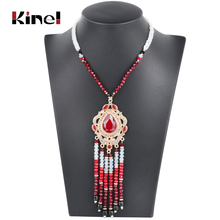Kinel Luxury Indian Ethnic Long Tassel Necklace For Women Fashion Gold Boho Handmade Beading Crystal Vintage Wedding Jewelry