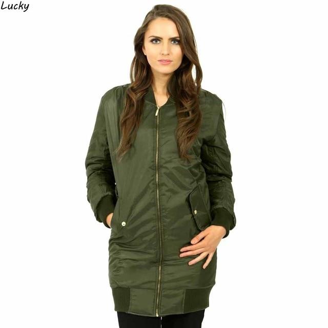 Womens Ladies Jacket Spring utumn Long Line Classic Vintage Padded  Bomber Jacket Coat Top