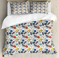 Bowling Duvet Cover Set Color Doodle Design on Notebook Sheet Backdrop Ball Pins and Shoes in Retro Style,4 Piece Bedding Set