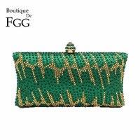 Verde Smeraldo di Cristallo Del Partito di Sera Frizioni Borsa Per Le Donne Borsa Nuziale di Metallo Box Clutch Bag Catena Sacchetto di Spalla di Promenade