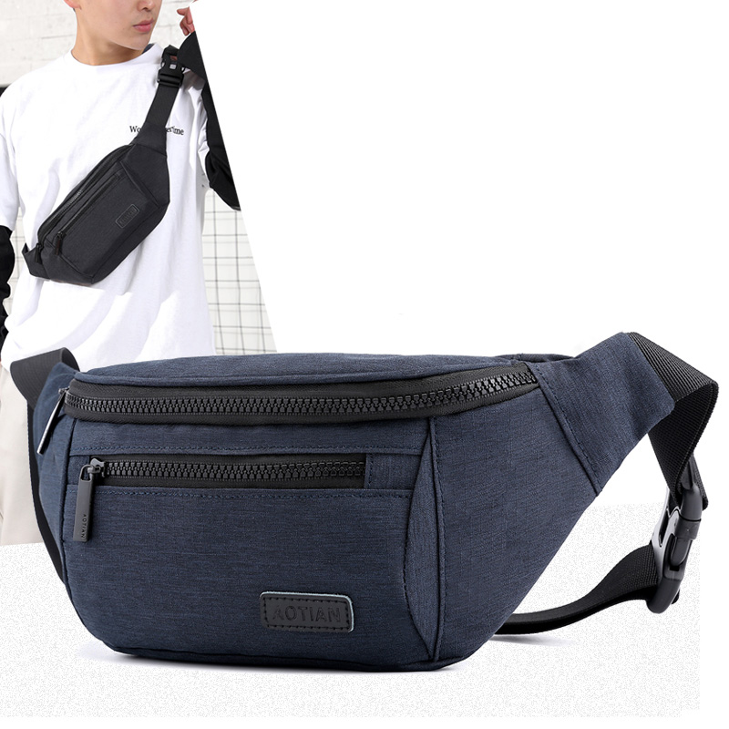 2019 Men Casual Waist Bag Money Phone Belt Shoulder Bag Male Gray Black Nylon Oxford Hip Bag Belt Pack