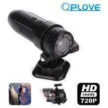 QPLOVE T01 мотоциклетная камера шлем Спорт 140 широкоугольный видеорегистратор HD720P TF максимум 32 Гб 7 часов в режиме ожидания пуля форма 3 м суперрезинка