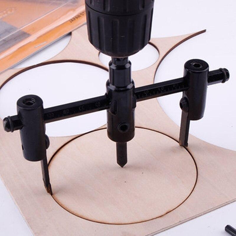 Aletler'ten El Aleti Setleri'de 30mm 300mm ayarlanabilir marangozluk el işi delik açacağı daire kesici alaşım freze kesiciler portföy araçları title=