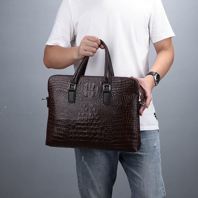 PURANI Business Laptop Handbag Crocodile Leather Male Top-handle Men Messenger Bags Alligator Shoulder Tote Bag Bolsa Masculina